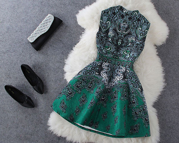 Elegant Stand Collar Beaded Retro Flower Print Dress - lilyby