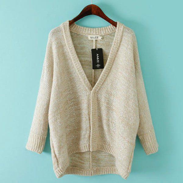 Simple Loose Mohair Sequin Cardigan Sweater Coat