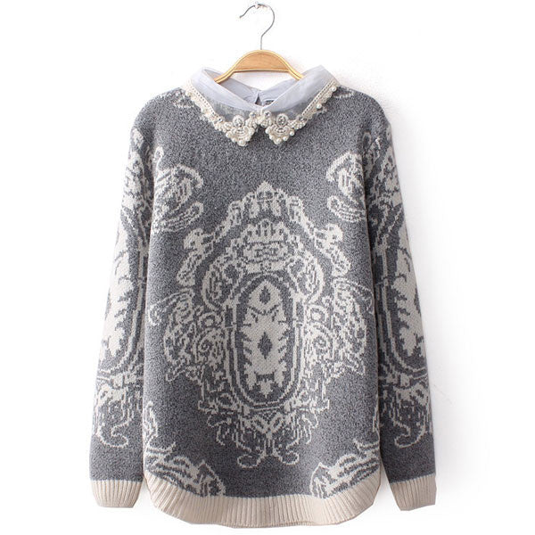 Pearl Diamond Lace Collar Stitching Totem Sweater - lilyby