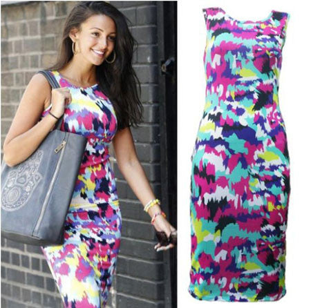 European Style Colorful Printing Tight Dress - lilyby