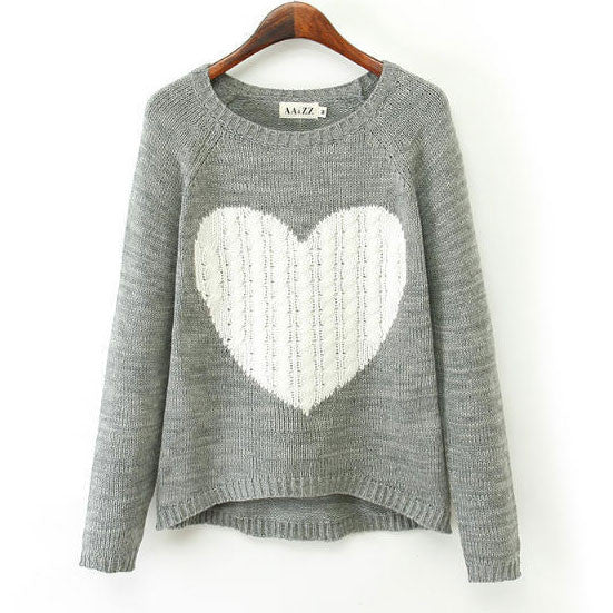Heart Pattern Irregular Cut Knit Cardigan Sweater - lilyby