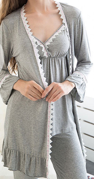 Elegant Cardigan Pyjamas Suit With Cup Long-sleeved Pajamas - lilyby