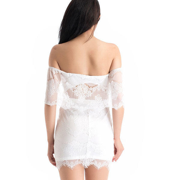 Hot Sexy Floral Low Cut White Lace Dresses - lilyby