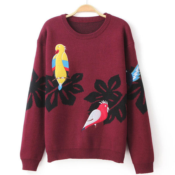 School Fashion Embroidered Birds Cardigan Sweater Coat - lilyby
