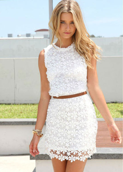 Slim Pretty  Floral White Lace Dresses