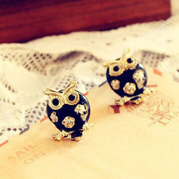 Cute Black Owl Hollow Flower Earrings Studs/Jewelry - lilyby
