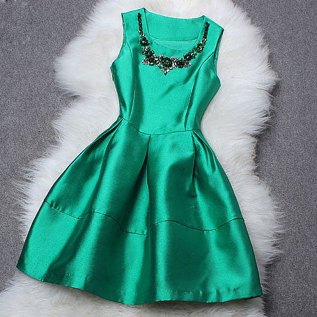 Round Collar Beaded Sequin Sleeveless Dress - lilyby