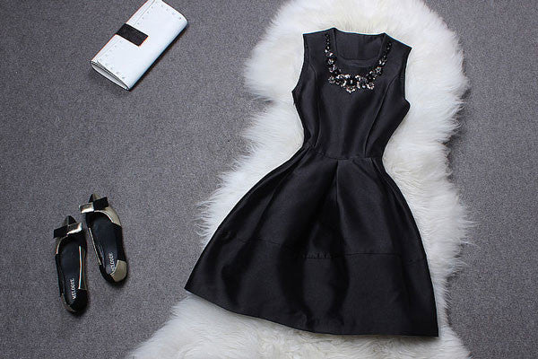 Round Collar Beaded Sequin Sleeveless Dress