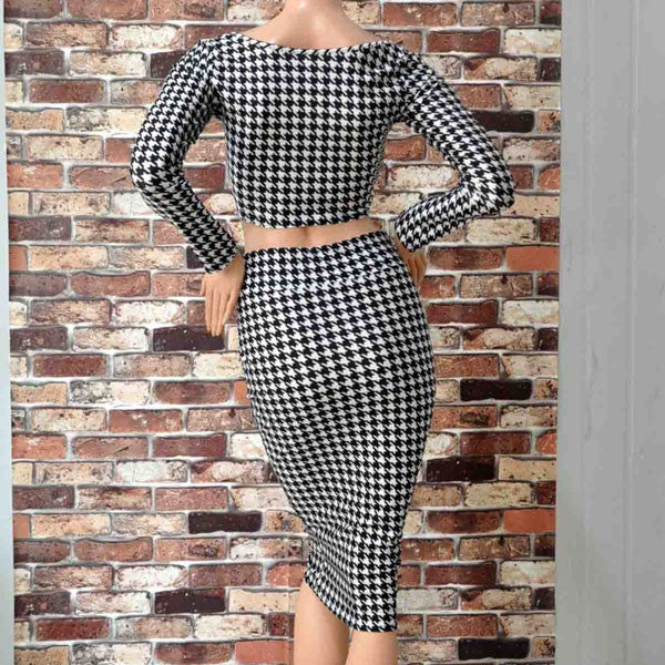 Classic Houndstooth Two Piece Dresses Skirts - lilyby