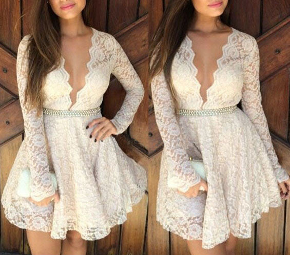 Sexy Deep V Hollow Long Sleeve Lace Dress - lilyby