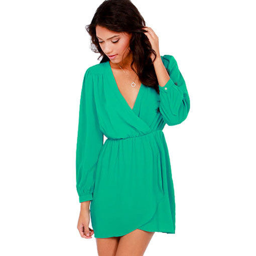 Colorful V Neck Long Sleeve Chiffon Dresses - lilyby