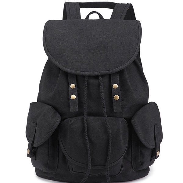 Leisure Vintage High School Bag Three Pockets Student Travel Canvas Backpack