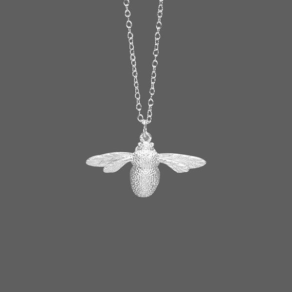 Handmade Unique Bee Pendant Necklace Silver Jewelry - lilyby