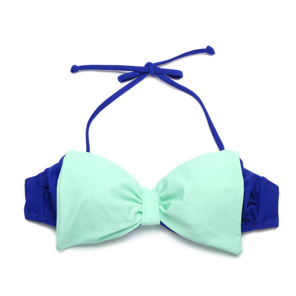 Sexy Contrasting Colors Bow Beach Swimsuit Bikini Halter