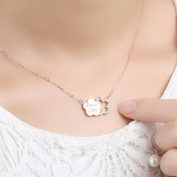 Plum Letter Diamond Encrusted Silver Pendant Necklace - lilyby
