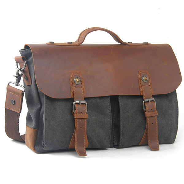 Leisure Laptop Large Thick Canvas Splicing Real Leather Retro Flap Handbag Shoulder Bag