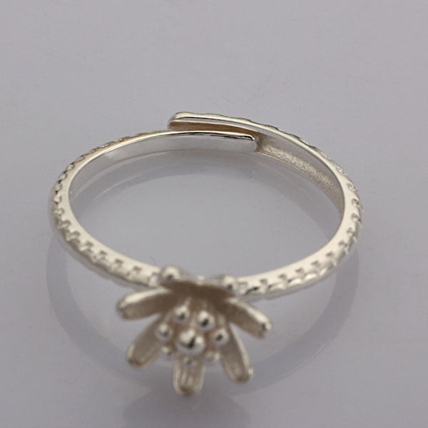 Pretty Golden Flower Bud S925 Silver Ring - lilyby