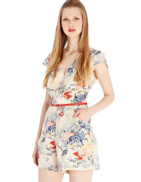 Young Ladies Pastoral Floral Printed V-neck Jumpsuit