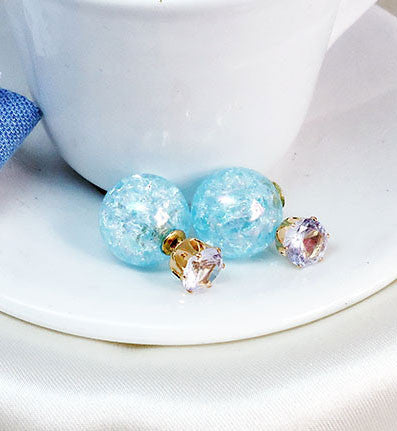 Creative Transparent Glass Crackle Beads Crystal Ball Earrings stud - lilyby