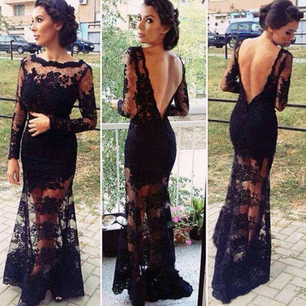 Backless Embroidered Black Long Lace Dress - lilyby