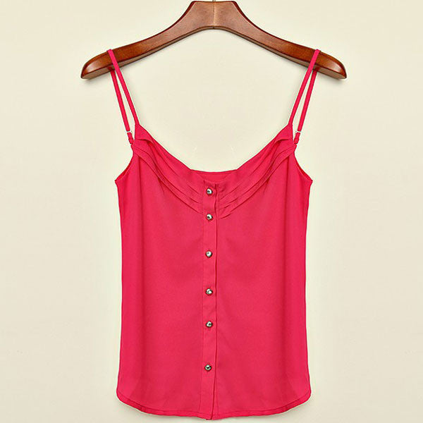Candy Color Chiffon Single Breasted Shirt Vest - lilyby