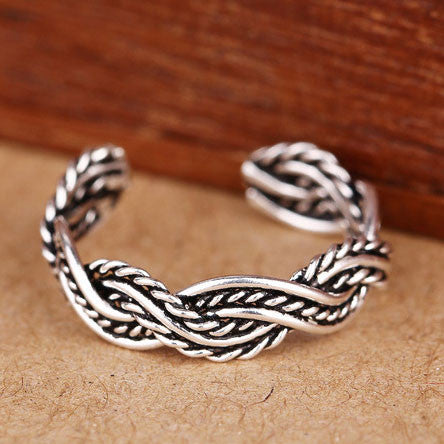 925 Sterling Silver Hand Woven Braid Opening Ring - lilyby