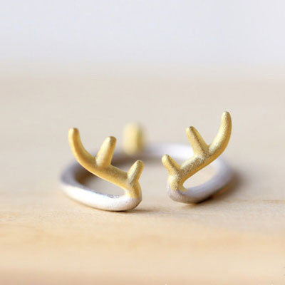Individualized Gift Antler 925 Sterling Silver Opening Ring - lilyby