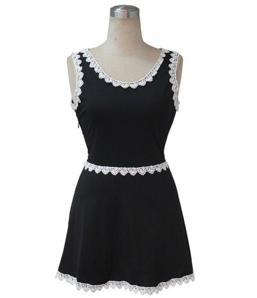 Casual Lace Sleeveless Black Mini Dresses - lilyby