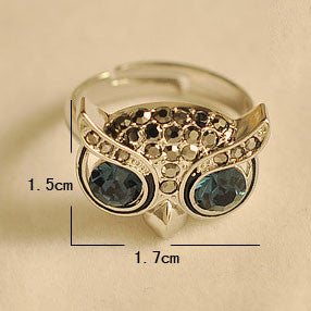 Cute Owl Animal Rhinestone Opening Rings - lilyby