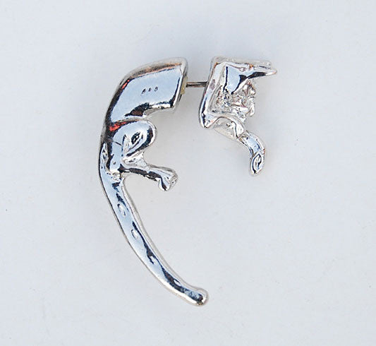 Funny 3D Long Tail Leopard Animal Earrings Studs - lilyby