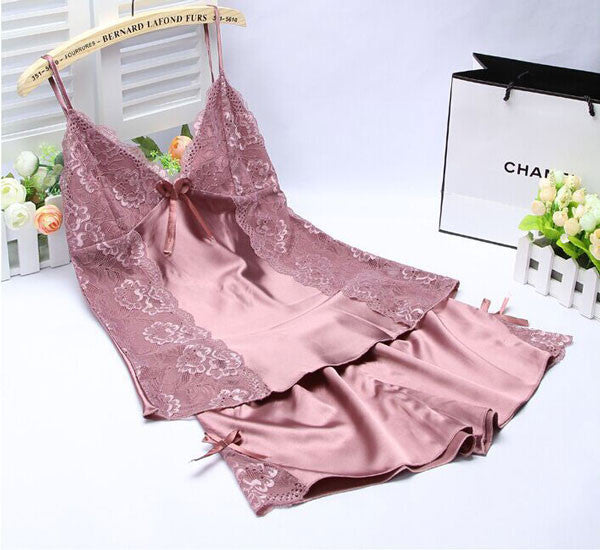 Sexy Elegant Silk Comfortable Two-piece Pajamas
