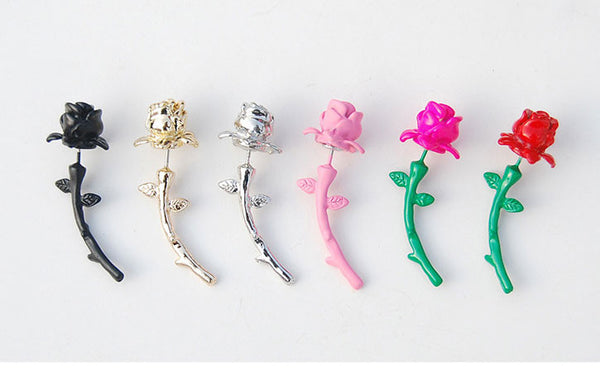 Fashion 3D Colorful Flowers Roses Valentine Earrings stud - lilyby