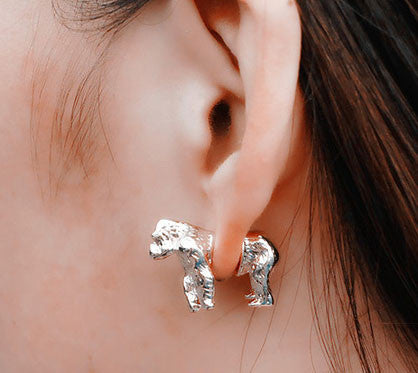 Domineering 3D Gorilla Animal Earrings studs - lilyby