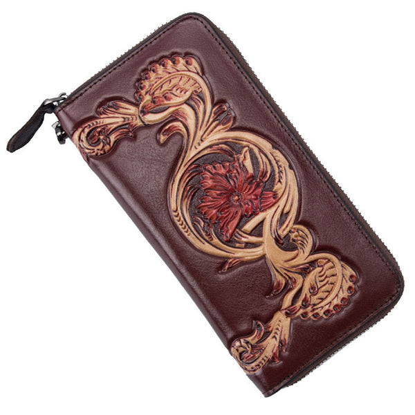 Retro Flower Long Wallet Leather Embossing Carved Leisure Phone Purse Clutch Bag