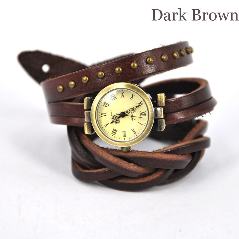 Dark Brown Twist Braid Winding Rome Leather Wrap Watch - lilyby