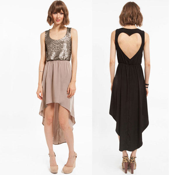 New Back Heart-shaped Stitching Sequins Chiffon Dress - lilyby