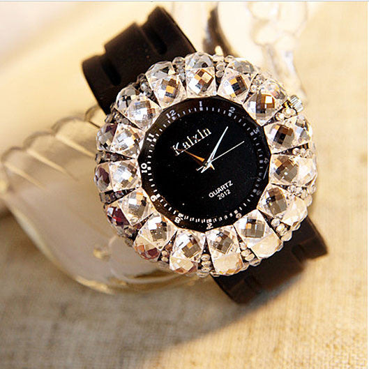 New Rhinestone Trim Rubber Strap Quartz Watches - lilyby