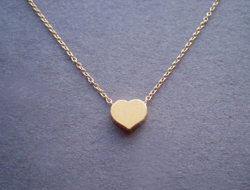 Cute Gold Heart shape Pendant Necklace - lilyby