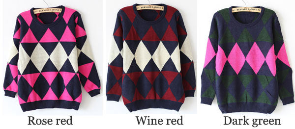 Retro Diamond Shape Color Matching Thick School Fashion Sweater - lilyby
