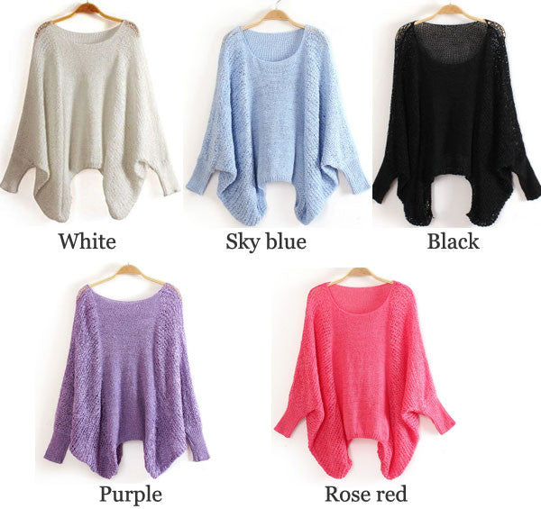 Irregular Cut Pierced Batwing Sleeve Loose Thin Sweater - lilyby