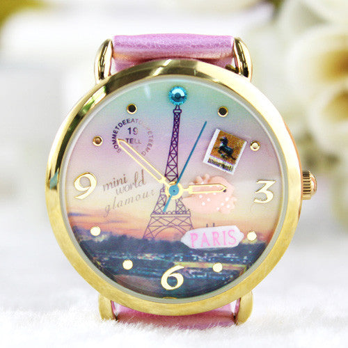 Adorable Princess Eiffel Tower Polymer Clay Watch - lilyby