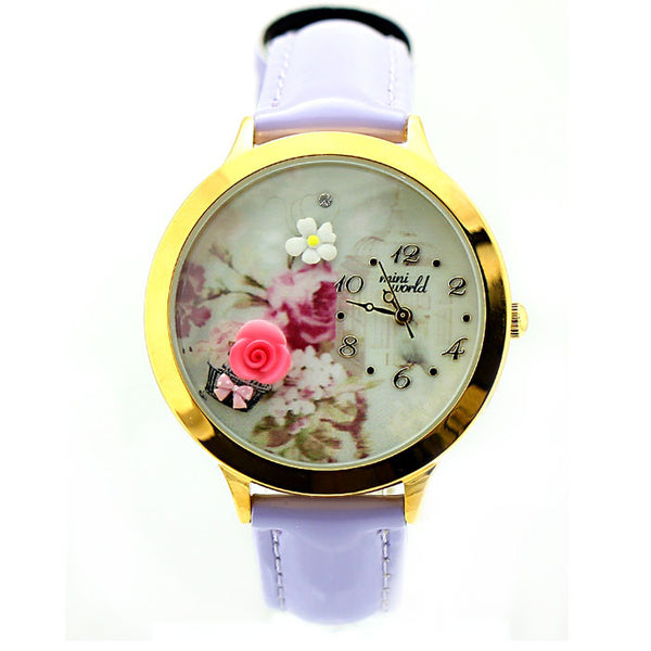 Purple Rose Gold Edge Polymer Clay Watch - lilyby