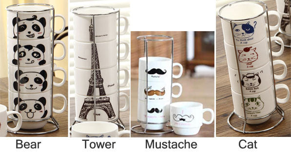 Originality Tower Animal Pattern Four Cups Set Ceramic Mug/Cup - lilyby