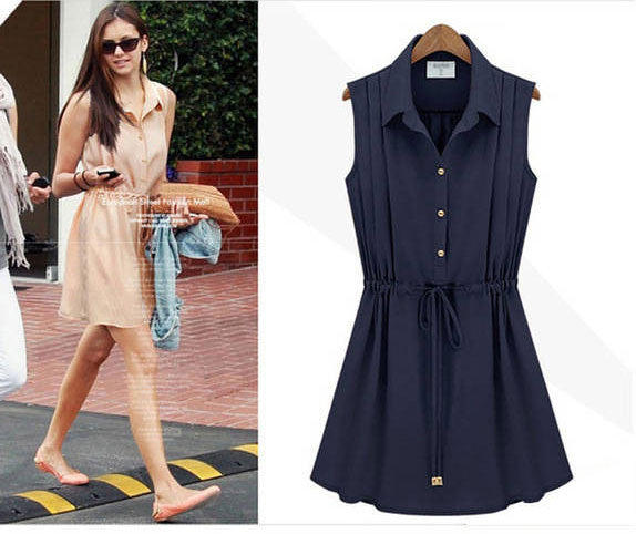 New Fashion Navy Blue Chiffon Sleeveless Dress - lilyby