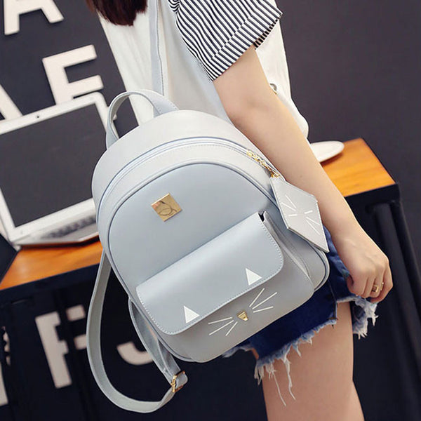 Cute Cartoon Cat Backpack Casual Leather Kitty Rucksack Shoulder School Bags