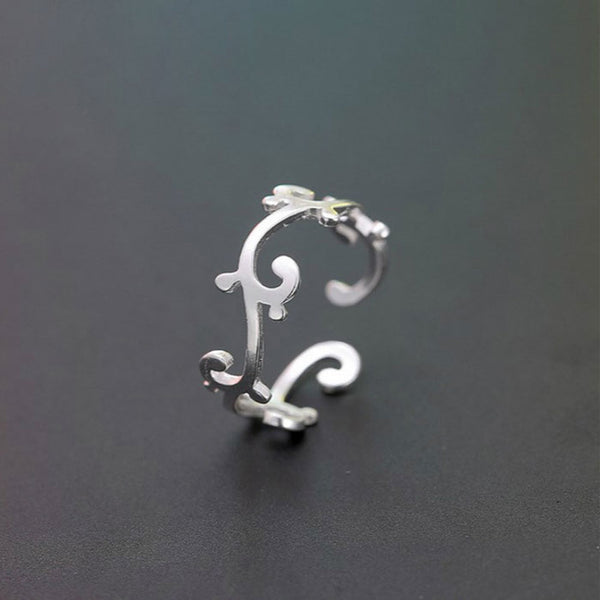 Cute Unique Flower Vine Women Silver Open Ring