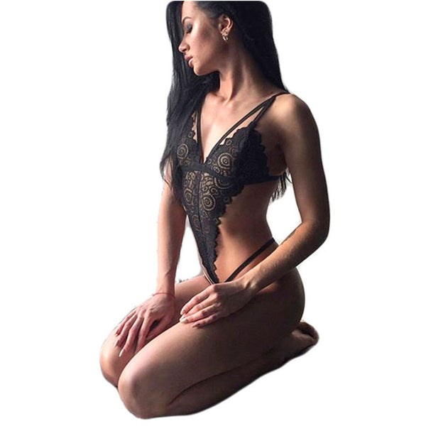 Sexy Conjoined Lace Siamese Pajamas Women Black Hollow Intimate Lingerie