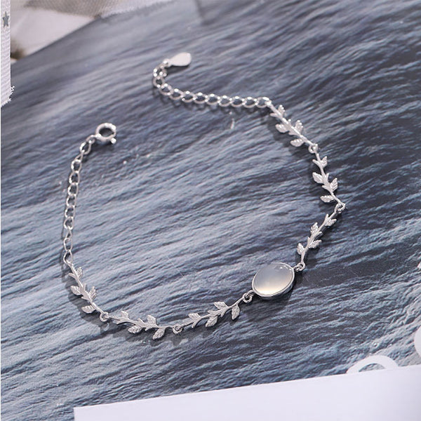 Creative Moonstone Leaves Silver Bracelet Lover Present Girlfriend Gift  Jewelry Women Bracelet