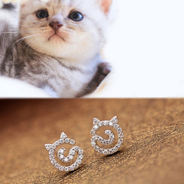 Lovely Kitten Rhinestone Earrings Cat Silver Women Earrings Studs