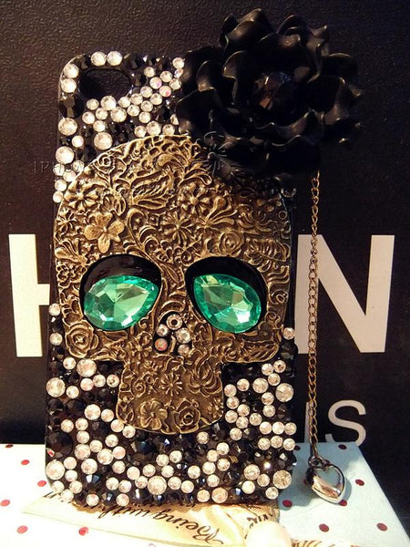 Handmade Punk Skull Rhinestone Iphone Case For Iphone 4/4s/5 - lilyby